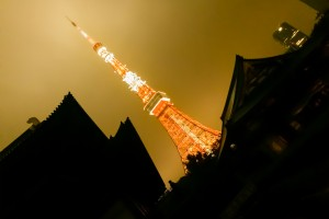 Tokyo Tower at night as seen from within Zoko Temple Grounds