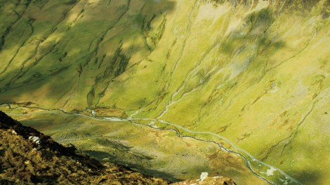 Looking down to Honister Pass from Fleetwith Pike