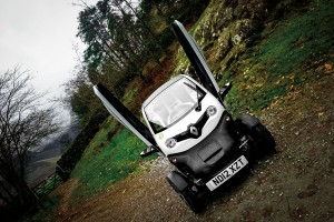 The Twizy spreads its angel wings in the car park at Stickle Ghyll
