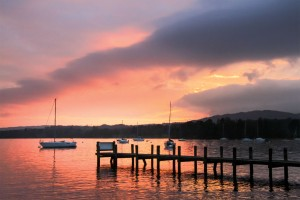 Windermere winter sunset at Waterhead