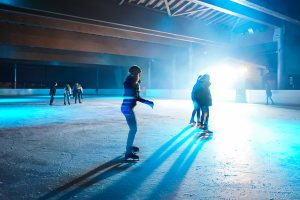 Ice Rink Disco at the Patinoire in La Clusaz, Haute Savoie, France